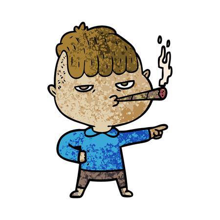 만화 남자 흡연 일러스트