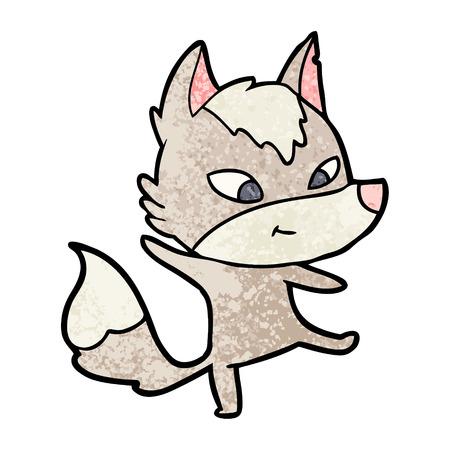 friendly cartoon wolf dancing Illusztráció