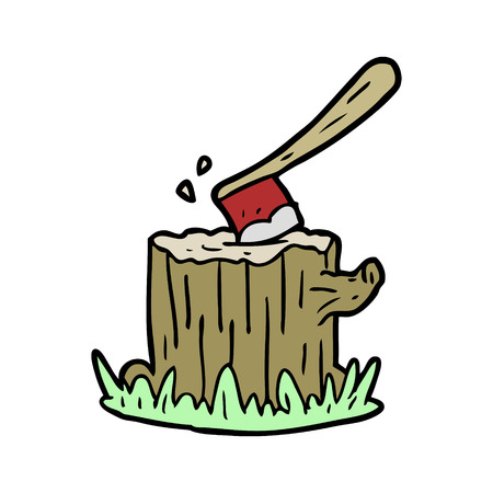 cartoon axe stuck in tree stump