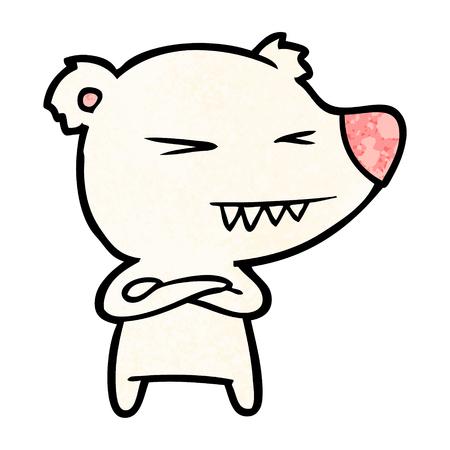 angry polar bear cartoon with folded arms Illustration