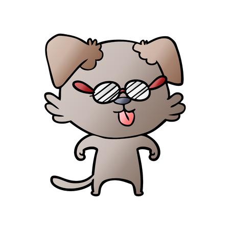cartoon spectacles dog sticking out tongue Ilustração