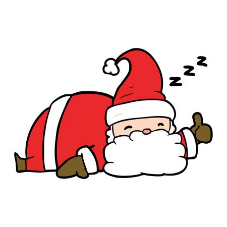 cartoon sleepy santa giving thumbs up symbol
