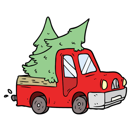 cartoon pickup truck carrying christmas trees