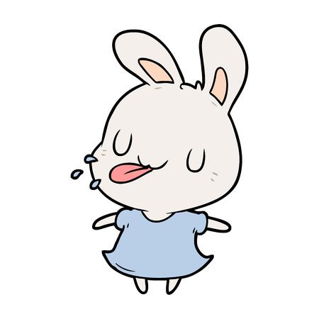 귀여운 만화 토끼 라즈베리 불고