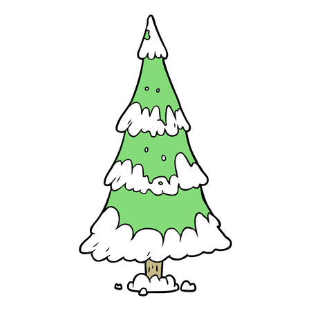 cartoon snowy christmas tree 向量圖像