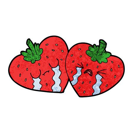 cartoon strawberries vector illustration.