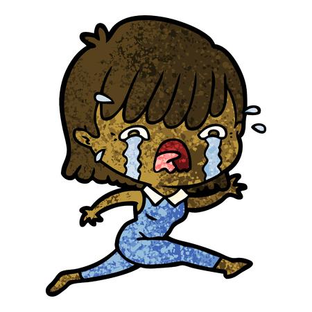 cartoon girl crying vector illustration.