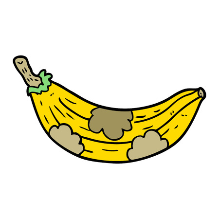 cartoon old banana going brown vector illustration.