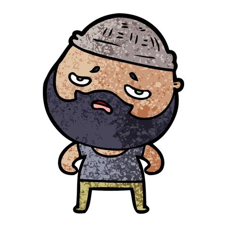 cartoon worried man with beard 版權商用圖片 - 94692631