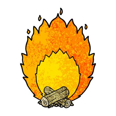 漫画燃えるキャンプ火災ベクトルイラスト。  イラスト・ベクター素材