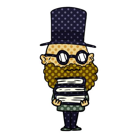cartoon worried man with beard and stack of books Illustration