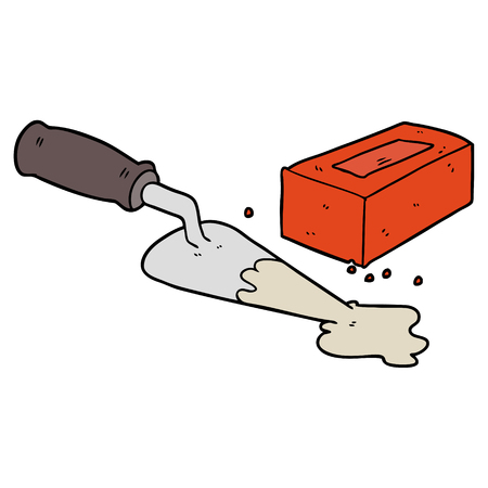 laying bricks cartoon Vector illustration. Иллюстрация