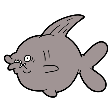 cartoon ugly fish Vector illustration.