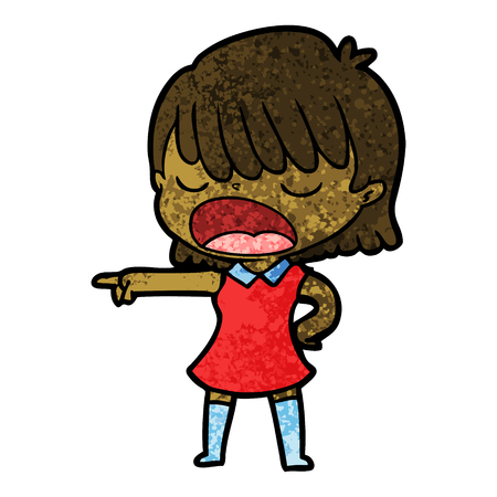 cartoon woman talking loudly vector illustration.