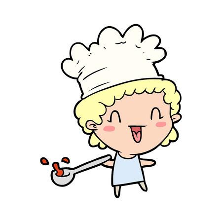 Chef heureux dessin animé mignon Banque d'images - 94741795