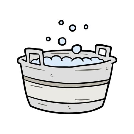 cartoon oude tin bad vol met water