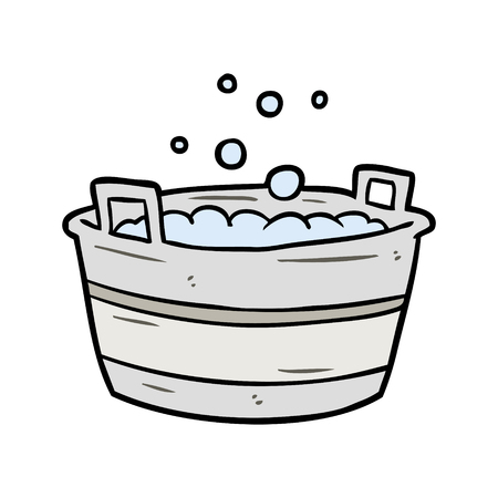 cartoon old tin bath full of water