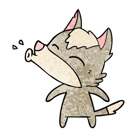 howling wolf cartoon Illustration
