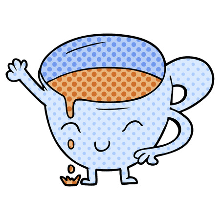 cartoon spilled teacup Ilustrace