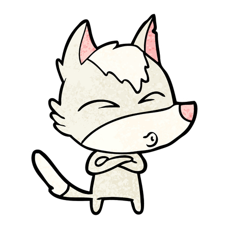 cartoon wolf whistling Illustration