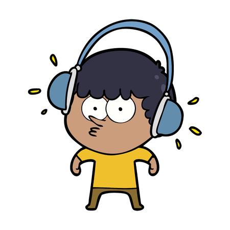 cartoon boy listening to headphones