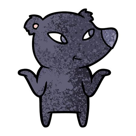 cute cartoon bear shrugging shoulders Illusztráció
