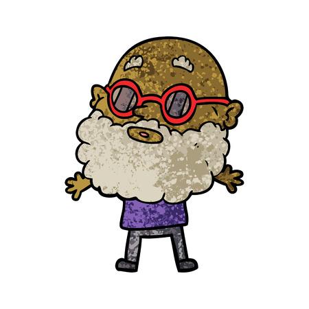 Uomo curioso dei cartoni animati con barba e occhiali da sole Archivio Fotografico - 94742372
