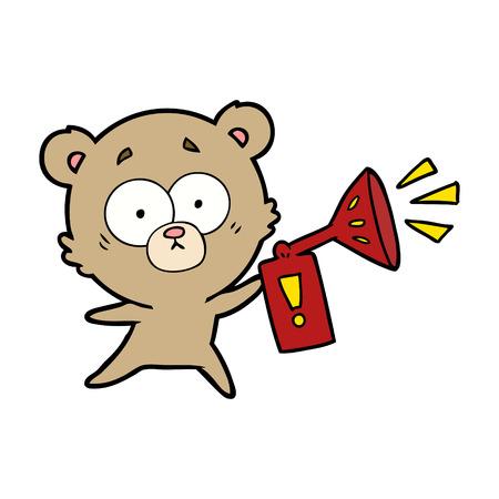 anxious bear cartoon with air horn Stock Illustratie