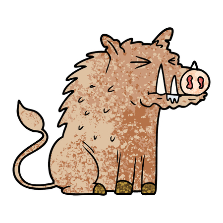 cartoon warthog illustration. Illustration