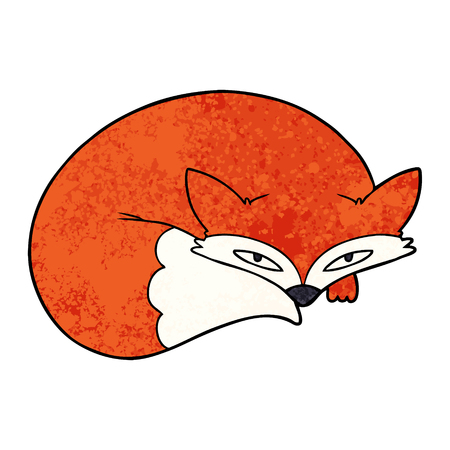 cartoon curled up fox