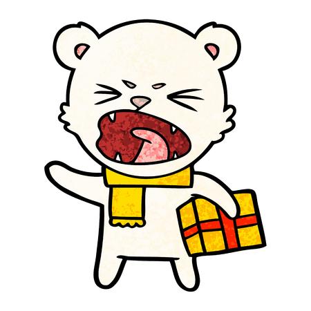 angry cartoon polar bear with christmas present