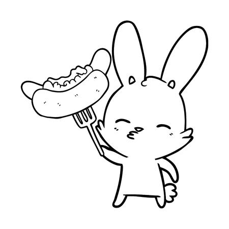 curious bunny cartoon with hotdog