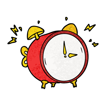 cartoon ringing alarm clock 矢量图像