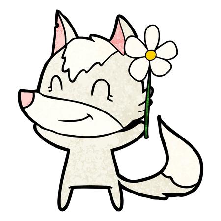 friendly cartoon wolf with flower