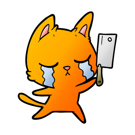 crying cartoon cat with cleaver