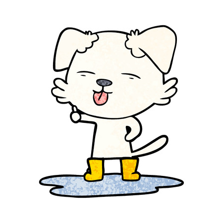 cartoon dog sticking out tongue in puddle 向量圖像