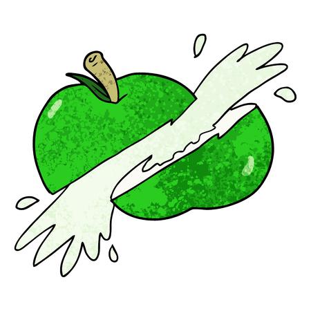 만화 슬라이스 사과