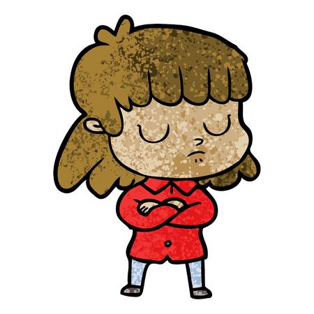 cartoon indifferent woman folding arms