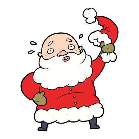 彼の帽子を振る漫画サンタクロース  イラスト・ベクター素材