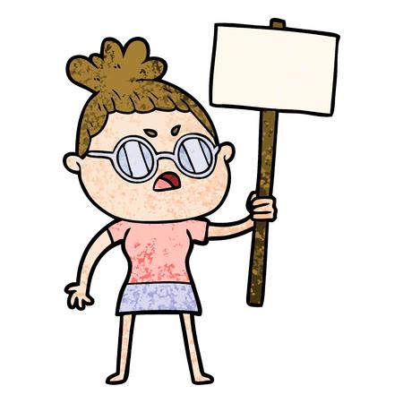 cartoon annoyed woman Illusztráció