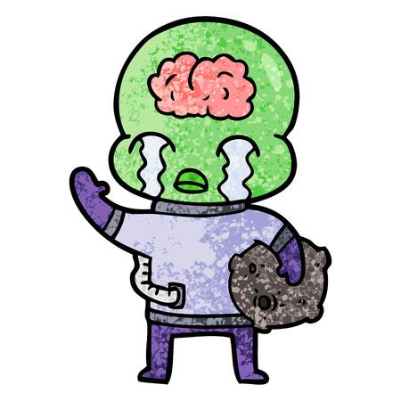 cartoon grote hersenen alien huilen en zwaaiend afscheid Stock Illustratie