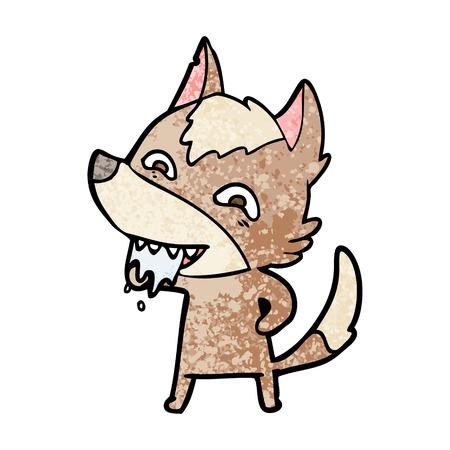 cartoon hungry wolf vector illustration. Illustration