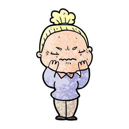 cartoon annoyed old lady vector illustration.