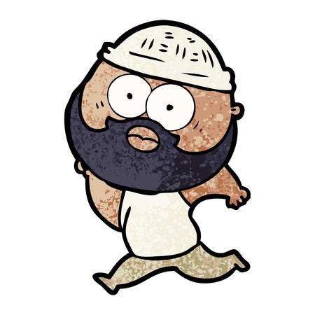 cartoon bearded man running Иллюстрация