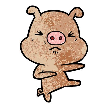 cartoon angry pig kicking out