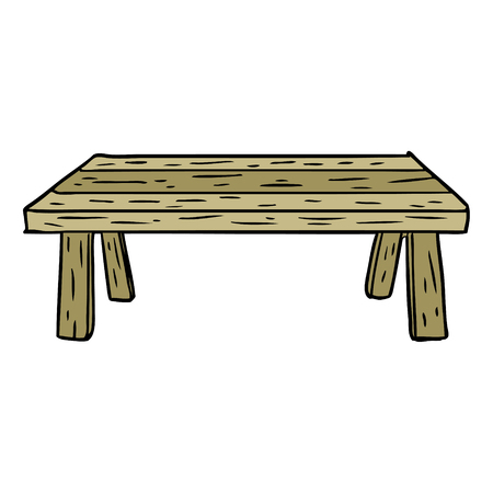 漫画の木製テーブル