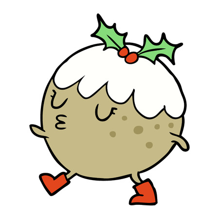 cartoon christmas pudding walking