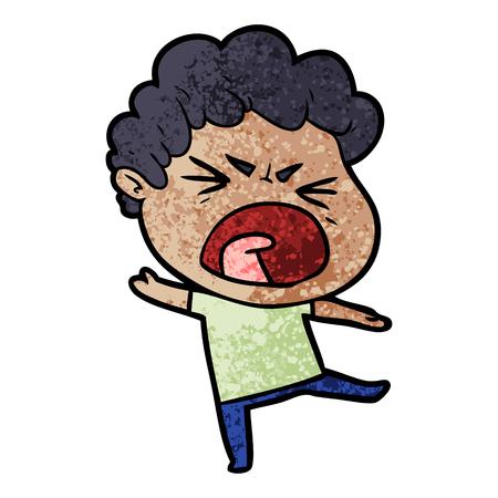 cartoon furious man Ilustrace