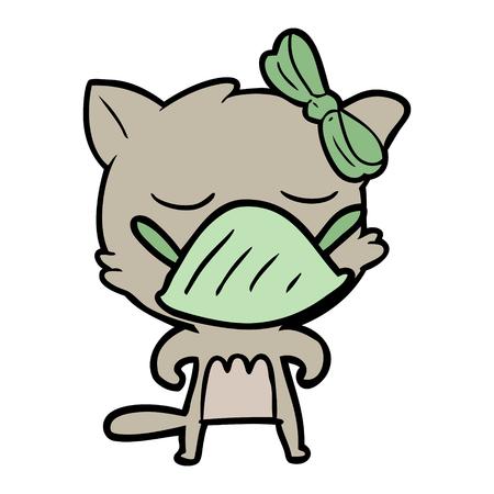 cartoon cat wearing germ mask