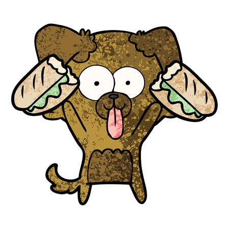 舌が突き出てサンドイッチを持つ漫画の犬